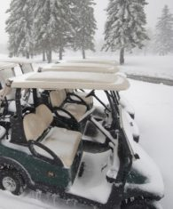 Club Car Precedent Golf Buggies left out in the snow - NOT RECOMMENDED!