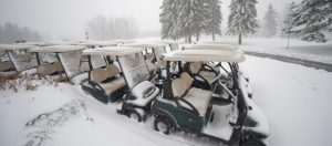 Snow Covered Golf Buggies